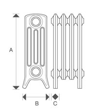 Diagram of Sovereign 4 Column 480mm Cast Iron Radiators